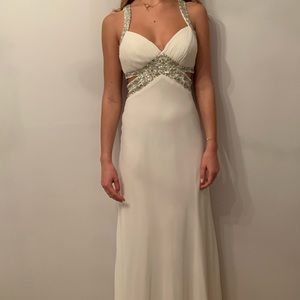 White long gemmed prom dress size 6